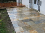 Terrasse opus romain en pierre, quartzite, paysagiste Savenay