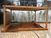 Terrasse,bois,pergola,bambou,paysagiste,Pornichet