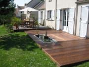 Terrasse,bois,bassin,paysagiste,La Baule