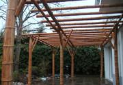pergola, bois, bambou, paysagiste