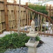 Panneaux en bambou dans un jardin japonais, Pornic